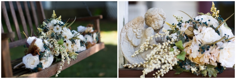Photos of a bride's bouquet on a bench and next to an angel statue